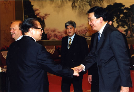 Mr André Chieng, President of AEC, and Mr Jiang Zemin, Former President of the People's Republic of China